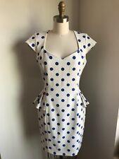 Betsey Johnson White & Blue Polka Dot Peplum Dress Sz 6  GORGEOUS!!
