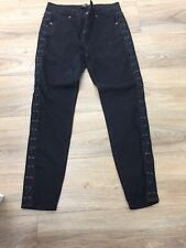 Forever 21 Lace Up Jean Black Skinny Jeans 10 Ankle Grazer