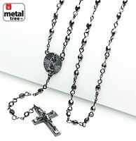 "NEW Men's Fashion 4mm Bead Guadalupe & Jesus Cross 25"" Rosary Necklace HR 700 HE"