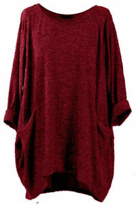 Women's Italian Plus Size knitted Tunic Top maroon Lagenlook Top one size 16-30