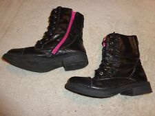 SKECHERS BLACK ZIPPER & LACE BOOTS WOMENS SIZE 3