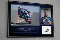 "Michael Dunlop TT Motor Cycle Framed Canvas Signed ""Great Gift"""