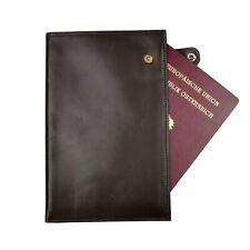 Luxus Reisepasshülle Leder Leather Passport Cover Case Braun Brown Reisen Snap