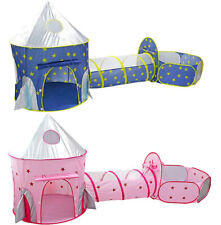 3 In 1 Kids Play Tent Crawl Tunnel Pop Up Cubby Baby Ball Pit Toddler Playhouse