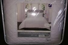 King Size Quilt White Ava Diamond Oversized Cotton Quilt King 3Pc Set Lush Decor