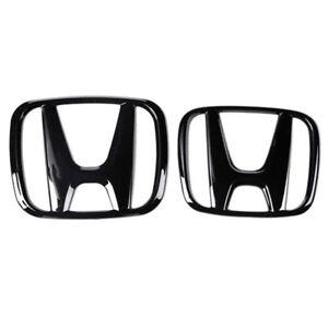 Black Front Rear Back Logo Emblem Badge Cover For Honda 10th Gen Civic 2016-2020