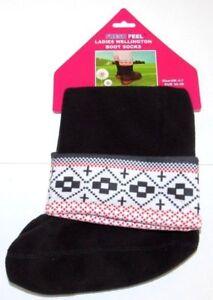 Ladies Fleece Welly Liners Wellington Boot Socks Winter Warmer Aztec Design 4-7