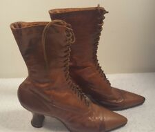 1920's Sweet Sally Lunn Victorian Edwardian Womens Lace Up Brown Leather Boots