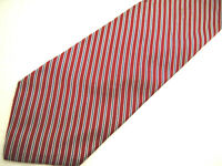 """Brooks Brothers Makers Mens Necktie Tie Red Navy Blue Grey Striped Silk 58"""""""
