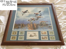 """22-3/4"""" x 22-3/4"""" Frame Late Comers By David Maass With 9 Framed Stamps"""