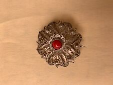 Round Victorian/ Antique Coral Silver Filigree Brooch w/ Tube Clasp