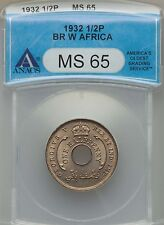 1932 British West Africa 1/2 Penny, ANACS MS 65, Scarce Date