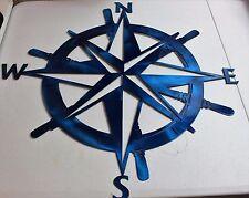 "Captains Nautical COMPASS ROSE  23""WALL ART DECOR  metallic blue"