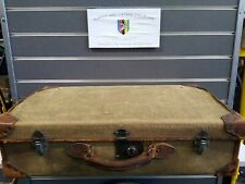 Vintage Leather & Canvas Suitcase Great Patina  Display or Restoration