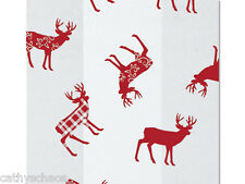 """25 Holiday Deer Red Plaid 4x9"""" Cello Bags Cellophane Christmas Cookie Gifts"""