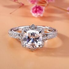 Unique 2.65Ct Cushion Cut White Certified 14k White Gold Vintage Engagement Ring
