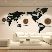 Creative Diy Silent Wood World Map Wall Clock Home Office Decoration Art Clocks
