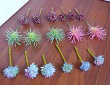 Set of 17 Artificial Miniature Succulents Stone Lotus Flocking Grass