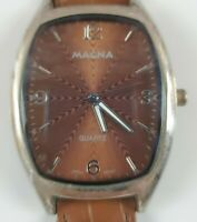 Women's MAGNA DESIGNER QUARTZ Watch ELECTROPLATED WATER RESISTANT Leather Band
