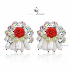 18k white gold gf made with SWAROVSKI crystal stud earrings red rose blossom