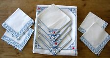 Vintage Linen Table Cloth Set Embroidered Bridge Cards Theme - 9 Pcs. -