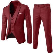 Mens Dress Formal Slim Fit Bridegroom Button Wedding 3pcs Suits Coat/Vest/Pants