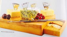 New Kitchen Cheese Serving Platter Bamboo Board W/ Cracker Drawer Knife/markers