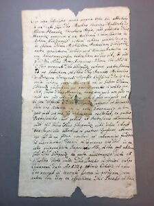 JESUIT ANTIQUE MANUSCRIPT ANCIENT DOCUMENT WITH STAMP 1745 YEAR