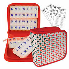 Magnetic Pill Vitamins Organizer Travel Home 4-8 weeks Red Case #POM-R014#