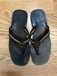 Gucci Flip Flops Thongs 8 Black Gold