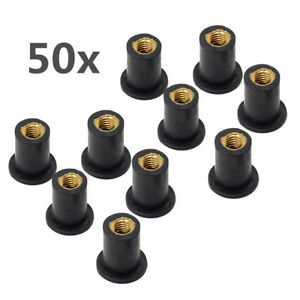 M5x0.8mm Rubber Well Nut Motorcycle Windshield Wellnut Fastener Seal Bushing 50x