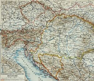 1897 Antique map of AUSTRIA HUNGARY Austro Hungarian Empire. 124 years old chart