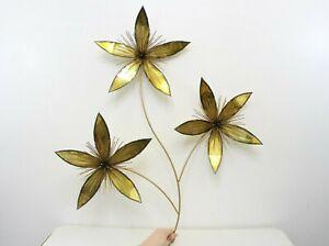 Vintage Flowers 3 Flower Brass Wall Art Metal MCM Brutalist Hanging Home Decor