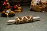 Engraved Carved Rolling pin Embossed dough roller Damask Textured by Oma Marta