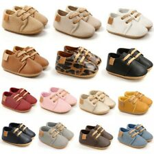Newborn Baby Boy Leopard PU Non-slip Soft Sole Toddler Frist Waliking Shoes