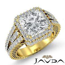 Princess Diamond Halo Pave Engagement Vintage Ring GIA F VS2 18k Yellow Gold 4ct