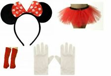 Red Minnie Mouse Ladies Girl Fancy Dress Tutu Ears Gloves Legwarmers Set outfit