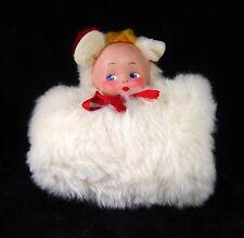 New listing 1940'S White Fur Hand Muffler Muff W/ Reversible Rabbit & Doll Head Very Rare