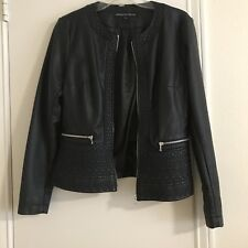 Ladies French connection Faux black Leather Jacket Size 10