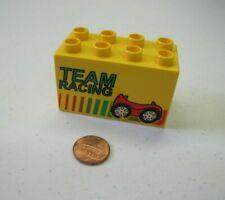 Rare Lego Duplo TEAM CAR RACING Printed Yellow Brick for Station Machine Vehicle