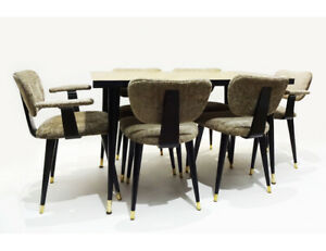 Mid Century space saving 1950s Italian dining set with 6 butterfly chairs