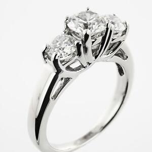 1.15 tcw Three Stone Diamond Engagement Ring 14k White Gold  Retail $4399.99