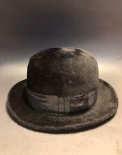 7 1/8 FINE Antique JOHN B STETSON CO The Playboy HAT Black Nutria Felt c1900-30s