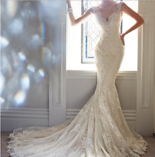 New White Fit Flare Beading & Sequined Lace Wedding Dress with Shoulders V Neck