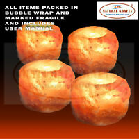 4 X HIMALAYAN SALT CANDLE HOLDER TEA LIGHT 100%  NATURAL SHAPE