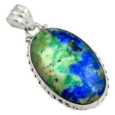 27.69cts Natural Blue Turquoise Azurite 925 Sterling Silver Pendant R8583