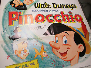 1971 Pinocchio Walt Disney One Sheet Poster 27x41 FVF R62/1