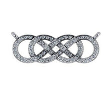 0.4 ct F VS round diamond double infinity sign charm pendant 14k white gold 16""