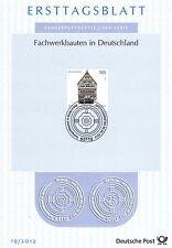 BRD 2012: Fachwerkbau in Bad Münstereifel! Ersttagsblatt der Nr. 2931! 1A!