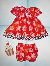 "Handmade Doll Clothes for 12"" - 14"" Baby Dolls - ""Cupcakes"" Red Orange Dress Set"
